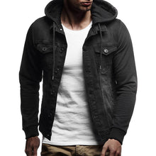 Load image into Gallery viewer, Mens' Hooded Vintage Distressed Demin Jacket