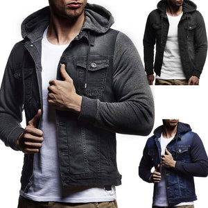 Mens' Hooded Vintage Distressed Demin Jacket