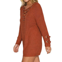 Load image into Gallery viewer, Women's Knitted Lace-up Sweater