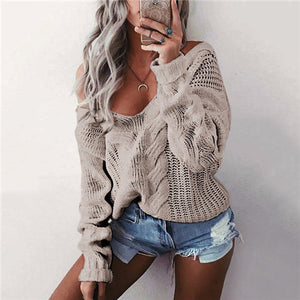 Women's V-Neck Casual Solid Color Sweater