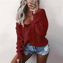 Load image into Gallery viewer, Women's V-Neck Casual Solid Color Sweater