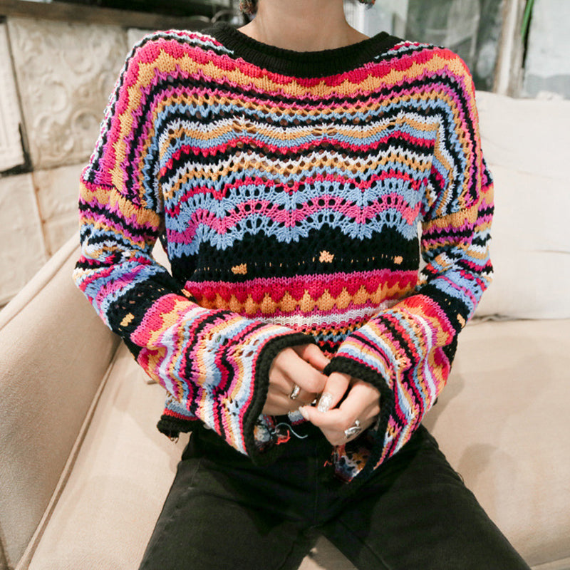 Women's Colorful Striped Sweater