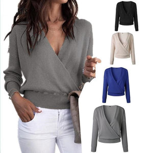 Women's Casual Long Sleeve Knitted V-Neck Sweater