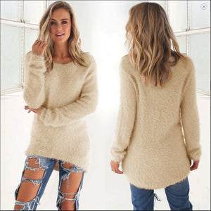 Voceelinda Women Autumn Winter Casual Sweaters Long Sleeve O-neck Pullovers Plus Size S-3XL