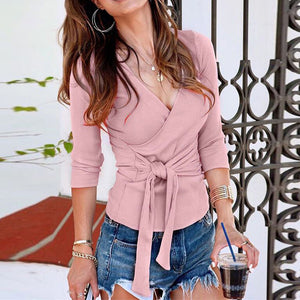 Women's Long Sleeve Lace Up Ribber Jumper Top