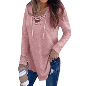 Women's Long Sleeve Deep V Neck Lace Up Shirt