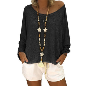 Women's Loose Batwing Long Sleeve T-shirt