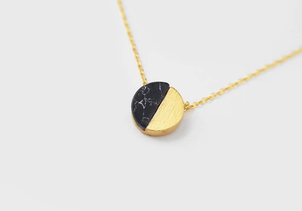 Half Moon Howlite Stone Necklace - Gold