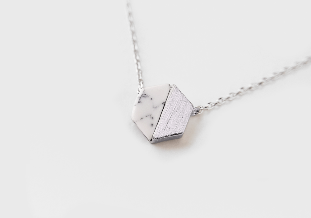 Hexagon Howlite Stone Necklace - Silver