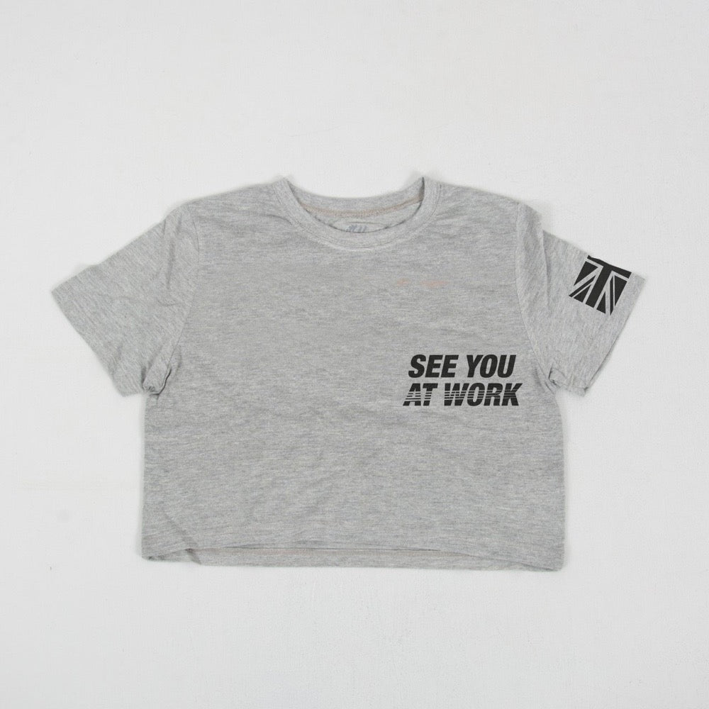 David Shorunke grey cropped Supporters T shirt
