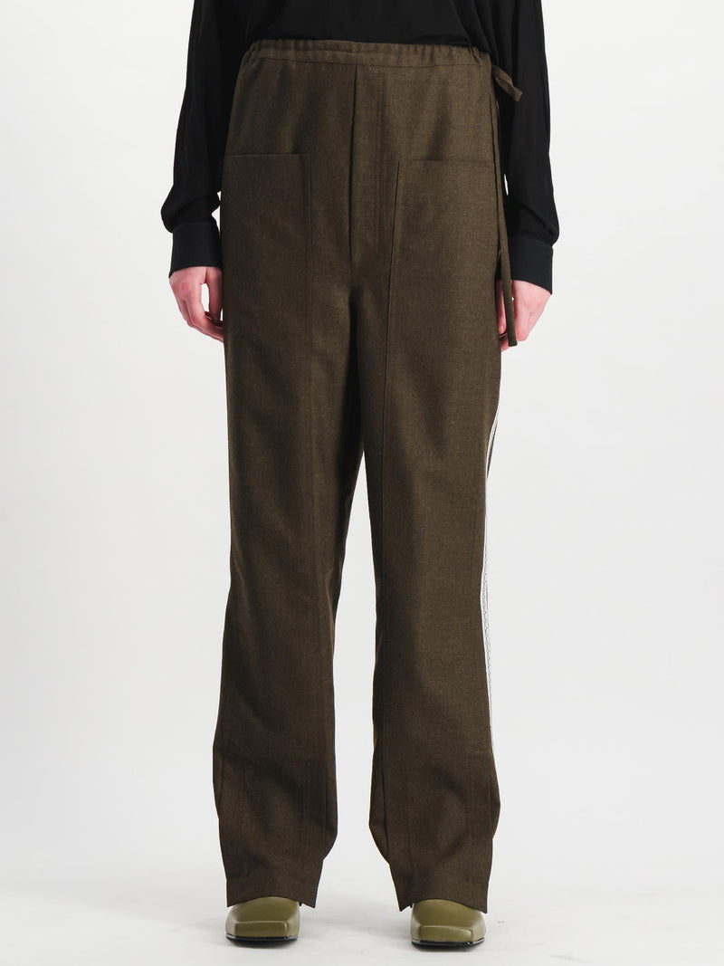 Khaki Side Cut Wool Trousers - Trousers - Situationist - Elevastor