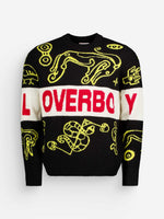 Black & Yellow Knitted Loverboy Logo Jumper - Sweaters - Charles Jeffrey Loverboy - Elevastor