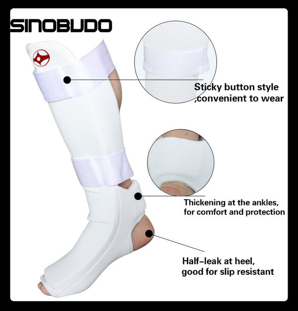 High Quality Kyokushinkai Buckle Shin Instep Foot Guards Cotton Kickboxing Training Kyokushin Foot Protection $50 - $75, modalyst, white Kyokushin Store