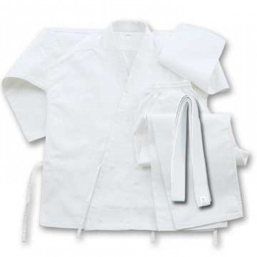 6 oz Cotton Karate Student Uniform White With Belt Size 9 Ninja Martial Arts@Ninja Martial Arts/Martial Arts Uniforms, WholesaleBlades Kyokushin Store