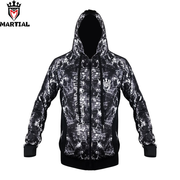 Martial :Fitness Zipper Hoodies  Bjj/Mma  Training  Embroidery Sweater With Hat Crossfit Full Length Sleeve  Sweatshirts