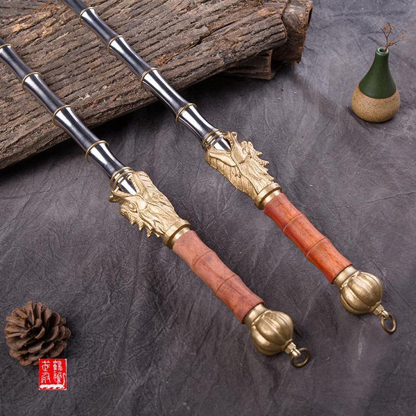 High-Grade Standard Solid Stainless Steel Bamboo Joint Double Whips Cold Martial Arts Weapon Accessories, Latest, Specials, weapon Kyokushin Store