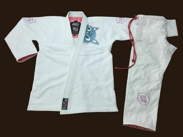 Kyokushin Store Sunrise Fightwear BJJ GI Uniform Pink with Cat Embroidery Women's Jiu-Jitsu Girl's Uniform Kyokushin Store