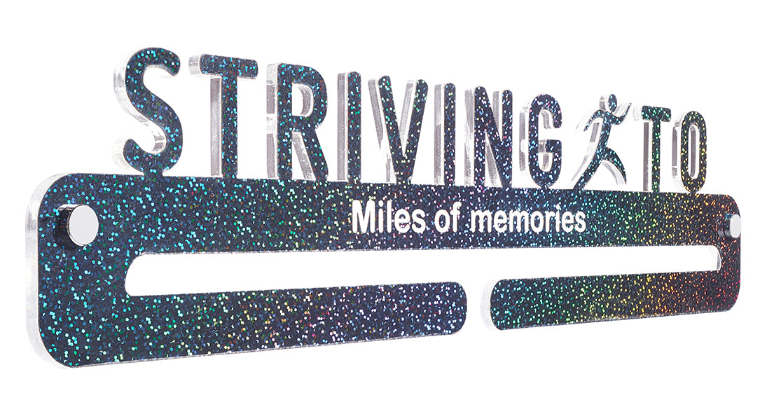 Medal Display - Iridescent Black Sequin effect - Miles of memories