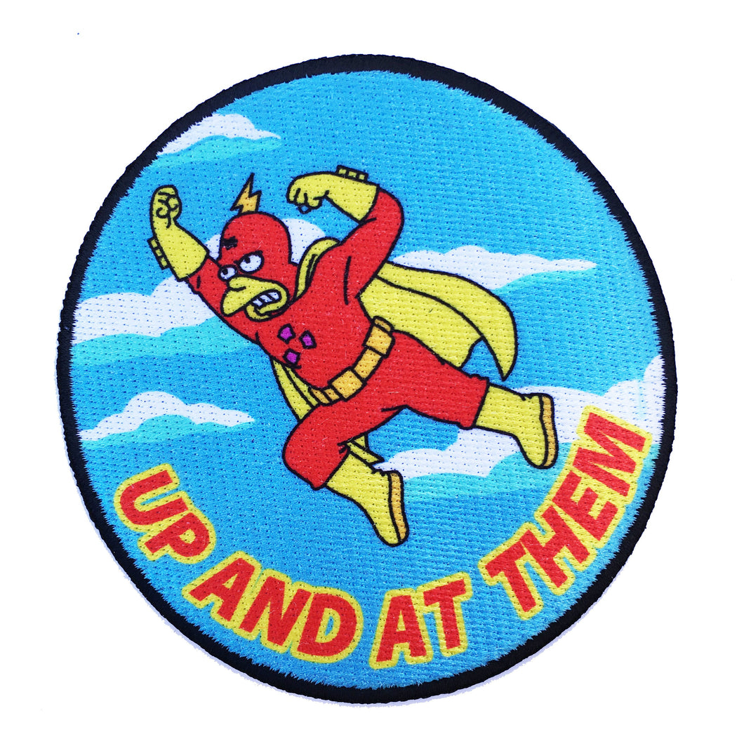 Up And At Them - iron on patch