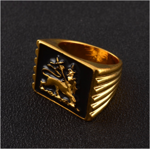 Lion of Judah Rastafari Gold ring - Unisex