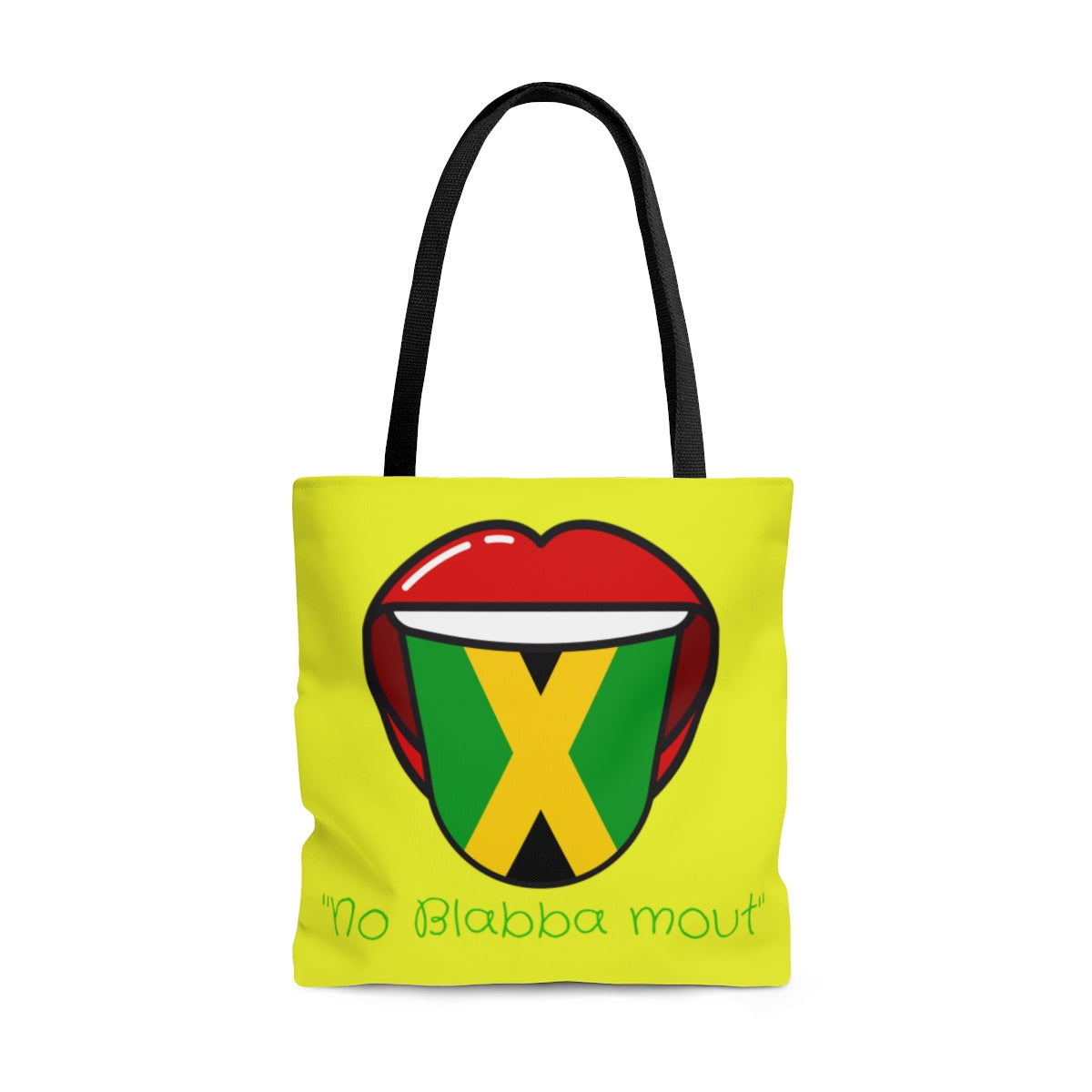 "Caribbean Vibes Jamaica Flag ""No Blabba Mout"" Tote Bag"