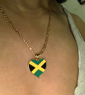 Caribbean Vibes - Jamaica Heart Flag Pendant Necklace