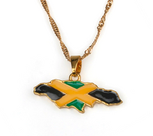 Caribbean Vibes - Jamaica Map and National flag Pendant Necklace