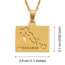 Caribbean Vibes - Bahamas Map Pendant Necklace
