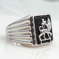 Lion of Judah Rastafari Silver Plated Ring - unisex