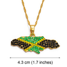 Caribbean Vibes Jamaica Flag Bling-up Pendant Necklace