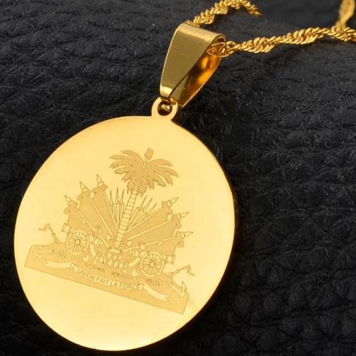 Caribbean Vibes Haiti Coat of Arms Pendant Necklace
