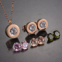 Sparkly Pendant and Earring Necklace Set - (doesn't tarnish) available in Gold, Rose Gold, Silver Colors