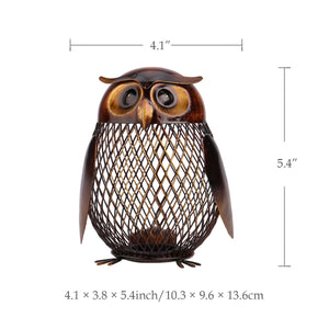 Metal Owl Storage Sculpture for Home