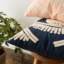Cream and Navy or Pink Throw Pillow [cover only ]