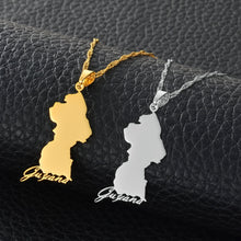 Caribbean Vibes Guyana Map Pendant Necklace (gold and silver finish)
