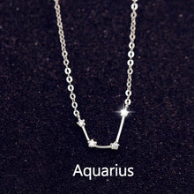 Sterling Silver 12 Star Zodiac Sign Pendant Necklaces
