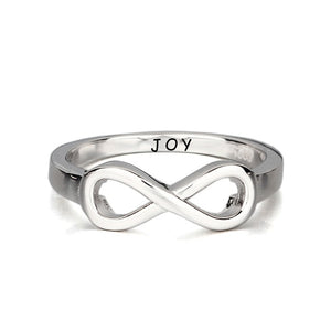 Sterling Silver Infinity Engraved Message Ring