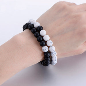 Opposites Attract 2-Piece Classic Bracelet Made from Natural Stone available in White and Black