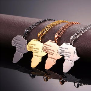 Africa Map Pendant Necklace Gold/Silver Plated