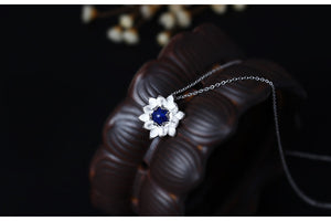 Sterling Silver SEPTEMBER Birthstone Lapis Lazuli Lotus Flower Pendant Necklace