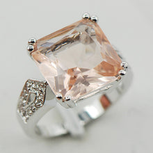 Morganite Sterling Silver Ring (5 sizes)