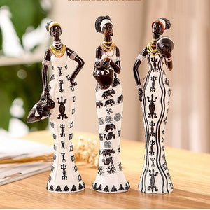 3 African Girls Home Decor Resin Figurine
