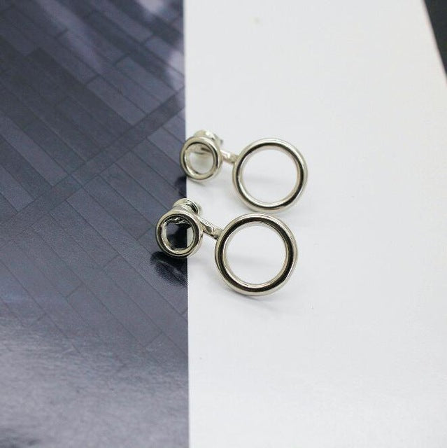 2 Circle Silver/Gold Minimalist Stud Earrings