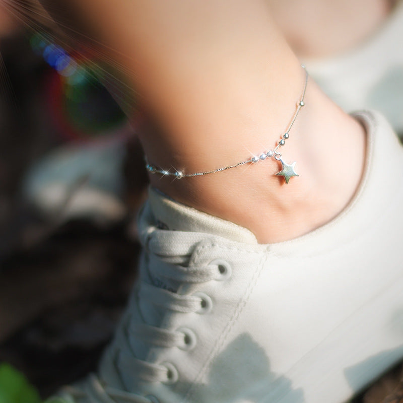 925 Sterling Silver Beaded Star Charm Anklet