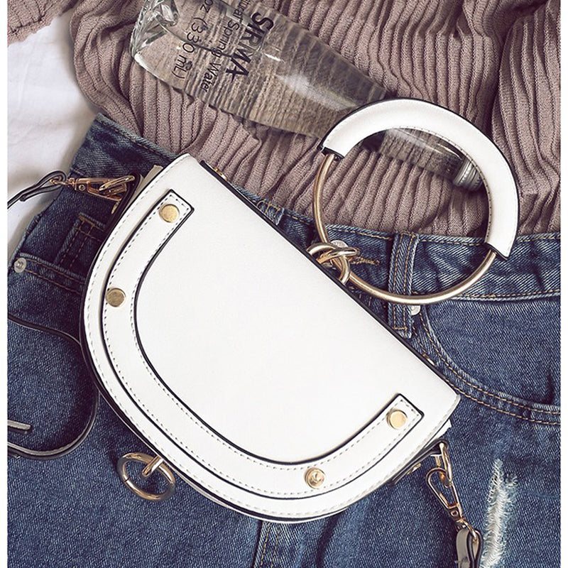 Trendy Saddle Bag with Round Handle and metal finish - White