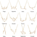 Star Zodiac Sign Pendant Necklaces featuring the 12 Constellations (Gold color or Silver plated)