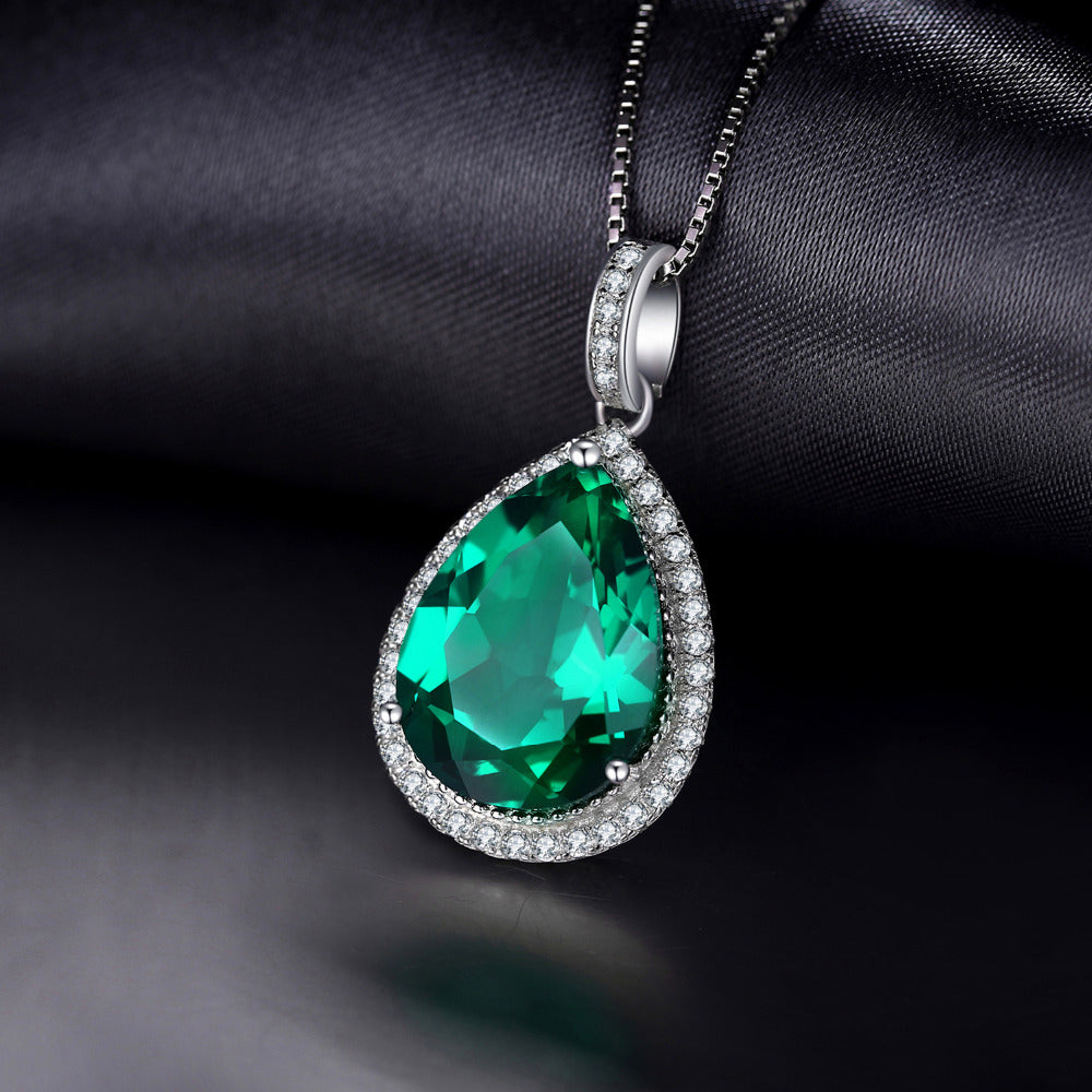 Luxury Pear Cut 7.4ct Created Emerald--MAY Birthstone--Solid 925 Sterling Silver Pendant Necklace