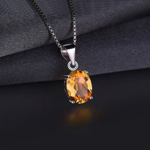 1.7ct Natural Citrine NOVEMBER Birthstone Pendant Silver Necklace