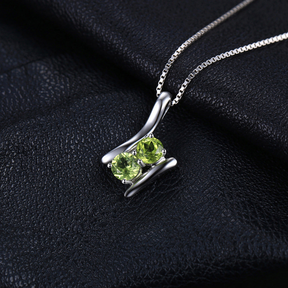Natural Peridot Stone Pendant AUGUST Birthstone Silver Necklace
