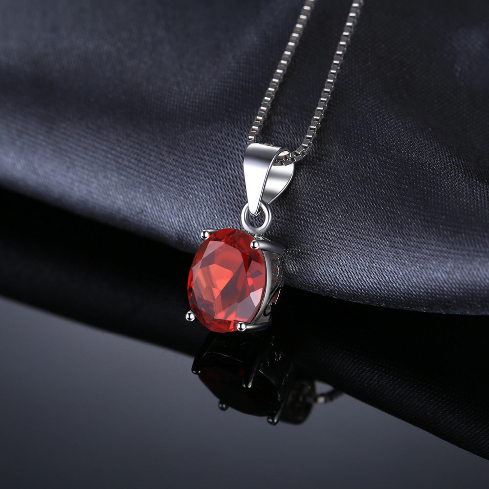 2.5ct Natural Red Garnet JANUARY Birthstone Pendant Silver Necklace